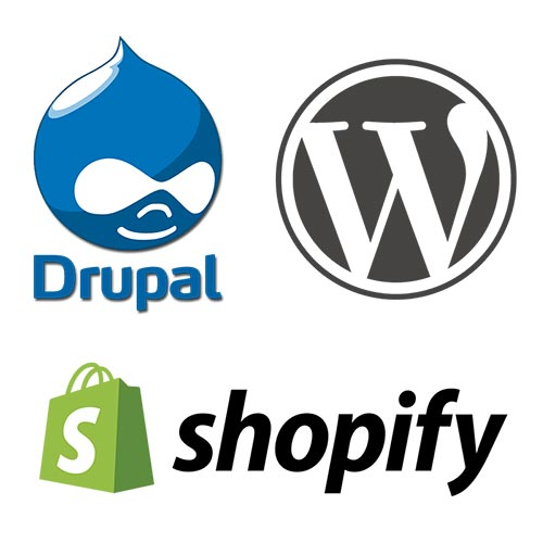 Drupal Wordpress and Shopify Logos