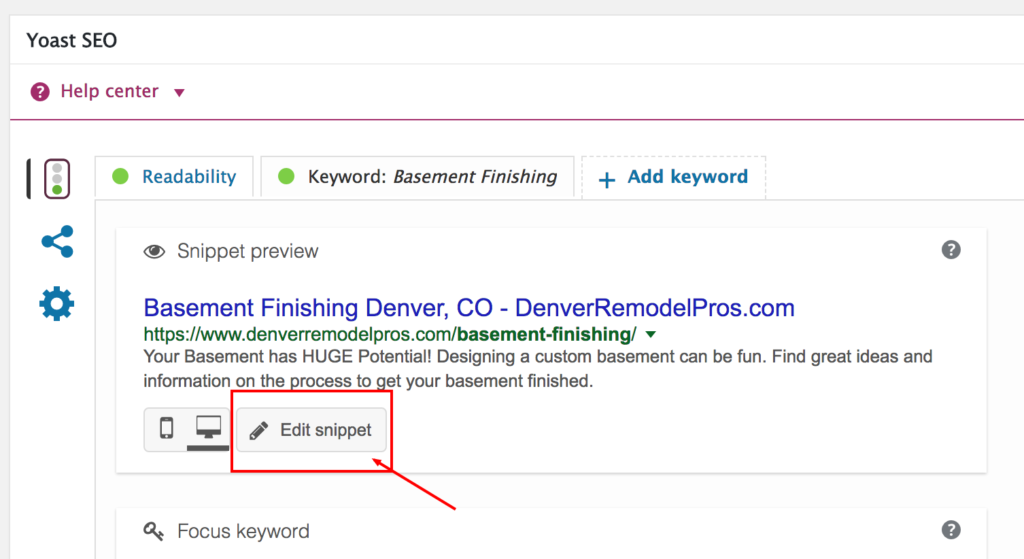 "click the ""edit snippet"" button"