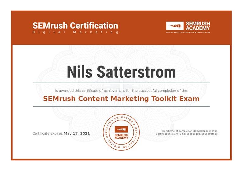 SEMrush-Content marketing certification