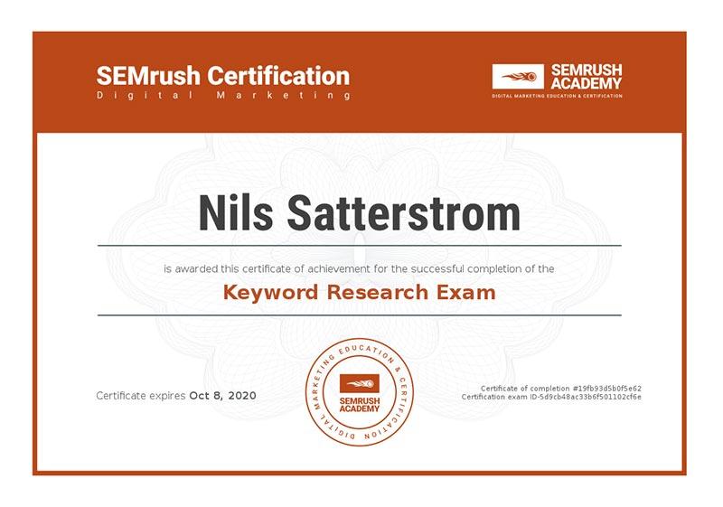 SEMrush-Keyword research certification