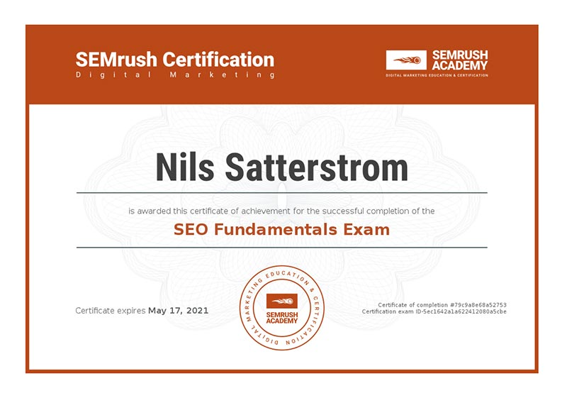 SEO Fundamentals Certificate from SEMRush